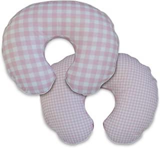 Boppy 超细纤维哺乳枕套,粉红色和白色特大格子