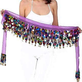 WEKIOOBON 肚皮舞臀围巾,甜美肚皮舞裙裹身性能闪亮亮片硬币,肚皮舞者服装(彩色紫色)