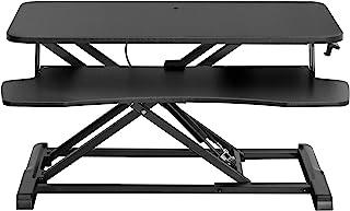 VIVO 黑色高度可调节 32 英寸(约 81.3 厘米)立式办公桌转换器,坐立双显示器和笔记本电脑立管工作站 (DESK-V000K)