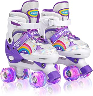 POPONY 紫色可调节发光溜冰鞋 适合女孩男孩儿童初学者室内室外