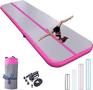 充气体操垫 10/13/16/20 英尺厚翻腾跳跃空气地板 4/8 英寸适合家庭使用/训练/健身/水上乐趣/瑜伽带气泵*/粉色/蓝色/黑色(粉红色,16 英尺3 英尺8 英寸(5×1×0.2 米))