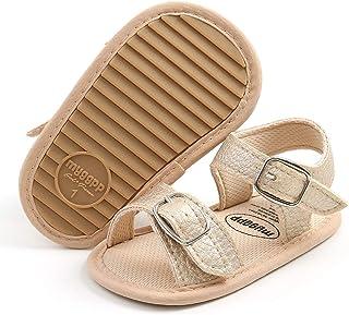 SOFMUO 女婴男孩闪亮凉鞋高级柔软防滑橡胶鞋底婴儿夏季户外鞋幼儿学步鞋 A/Gold 6-12 Months Infant