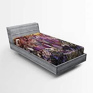 Lunarable 仙人掌床笠,紫色沙漠多色母亲自然植物沙漠灌木树枝草本,柔软装饰面料床上用品全圆弹性口袋,单人床尺寸,紫色