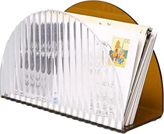 MyGift 中世纪琥珀和透明亚克力波浪设计邮件分类器,桌面字母夹