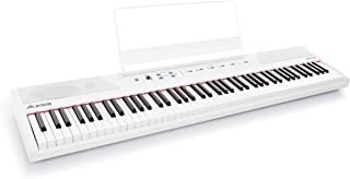 Alesis Recital White | All White 88-Key Digital Piano/Keyboard with Full-Size Semi-Weighted Keys, Power Supply, Built-In S...