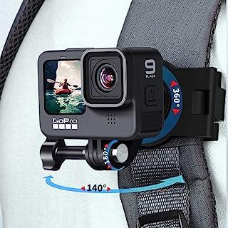 背包肩带支架带 360° 可旋转底座,可调节动作相机带支架适用于 Gopro Hero 9/8/7/6/5/4,Osmo Action,Insta 360 One R,Sony 动作相机