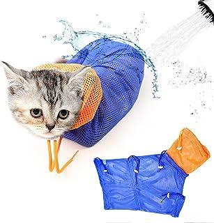 猫咪浴包,可调节猫淋浴袋网眼猫*袋,透气防咬防刮猫束缚袋,适合猫咪沐浴*修剪*药服(蓝色和橙色)