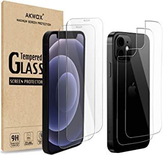 (4 件装)适用于 iPhone 12/12 Pro 6.1 英寸带后盖的屏幕保护膜,Akwox 9H 钢化玻璃前屏幕保护膜和背面屏幕保护膜,适用于 iPhone 12/iPhone 12 Pro(6.1 英寸)