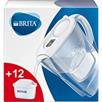 BRITA 碧然德 Marella 净水壶 白色,包括12个MAXTRA+滤芯-BRITA过滤器一年用,用于减少石灰,氯…