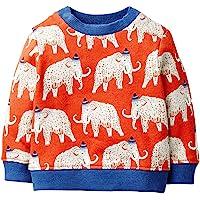 EULLA 男童运动衫幼儿男孩恐龙衣服婴儿套头衫儿童套头衫适合 1-7 岁儿童 Mammoth-red 2-3T