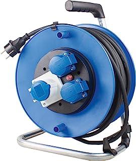 as - Schwabe CEE 电缆卷筒 230 V – 带Schuko 插头和40 米导线 – 坚固的户外线辊 – IP44 – 德国制造 - 黑色 I 10174