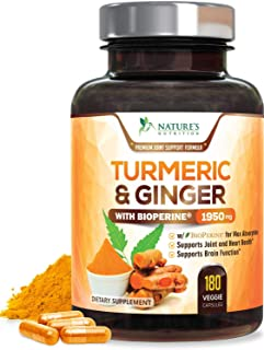Nature's Nutrition 姜黄素 含有BioPerine&生姜95%姜黄素1950mg-黑胡椒用于吸收,美国制造 180粒胶囊