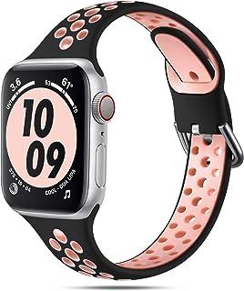 Henva 兼容 Apple Watch 表带,38 毫米 40 毫米,适合女士,超薄柔软透气硅胶运动表带,带气孔,适用于 iWatch 系列 SE/6/5/4/3/2/1,黑色/粉色