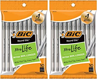 BIC 圆形 Stic Xtra Life 圆珠笔,中号 2-Pack (10 Count) 黑色