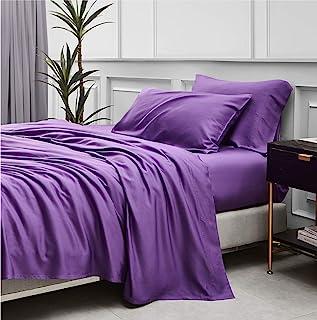 Bedsure * 竹制床单套件双紫色 - 清凉竹制床单适用于单人床床,带深口袋 3 件套