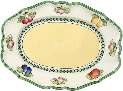 Villeroy & Boch 德国唯宝 法国花园Fleurence 椭圆大平盘,14.5英寸/约36.83厘米,白色/彩色