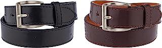 2 件装儿童人造皮革双线缝合单爪基本皮带 (#71)(黑色和棕色,大号)