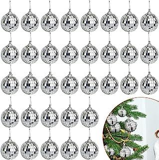 48 只装镜子迪斯科球,银色悬挂迪斯科球,带紧固带旋转,用于派对装饰,圣诞树饰品(2 英寸)