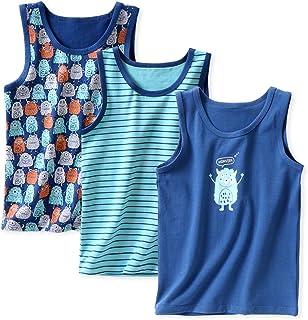 LeeXiang 3 件装幼儿男孩女孩夏季背心,卡通印花汗衫