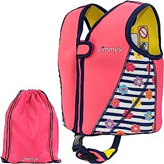 Limmys 优质氯丁橡胶儿童游泳背心,女孩理想的浮力游泳辅助品,包含抽绳袋