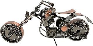 金属摩托车工业自行车切割机办公室办公桌雕塑 8 英寸复古回收金属切碎机手工铁螺栓螺母胖男孩独特男人洞艺术装饰自行车链(M10 铜)