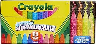 Crayola 可洗的边行粉笔,64 只装,包括闪光和霓虹灯,儿童户外礼物 1包 51-2064 64