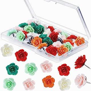 30 件玫瑰图钉 软木板钉,装饰推销花拇指钉,用于白板,公告板,照片墙,地图,办公室家庭组织,各种颜色