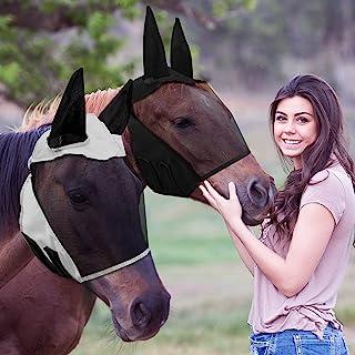 2 件马飞脸覆盖防紫外线飞脸罩,耳朵光滑有弹性