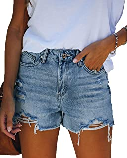 Seyorz 女式牛仔热辣短裤高弹力中腰塑形套穿紧身牛仔裤