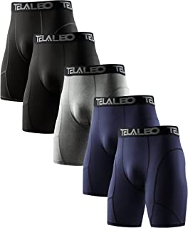 TELALEO 男式长款压缩短裤凉爽干燥运动紧身裤