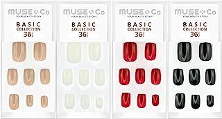 MUSE & Co 粘胶 36 个假*中等长度光泽光滑多件装(4 件装)