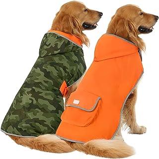 HDE 双面狗狗雨衣连帽滑块斗篷雨衣夹克适合小型中大型犬(迷彩/橙色,XXL)