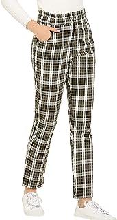 Allegra K 女式格子呢裤弹性高腰工作办公室裤带口袋