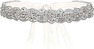 Flyonce 水钻水晶新娘腰带婚礼礼服,手工制作米色缎面腰带派对晚礼服 98.4 英寸