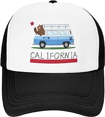 儿童卡车司机帽,加利福尼亚熊巴士可调节棒球卡车司机帽男孩女孩太阳透气青年幼儿棒球帽