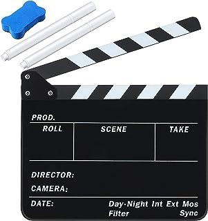 胶片拍板 30.48 x 24.96 厘米亚克力电影导演 Clapboard Cut 动作场景板岩工作室视频胶片拍板 2 件白色墨水可擦笔和用于拍摄场景的黑板橡皮擦
