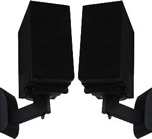 WALI Outlet Mount for Dot 2nd Generation and Other Voice Assistant 壁挂式支架支架,家庭空间节省完美配件,无杂乱电线或螺钉 (AMM001-B),黑色WL- SWM201  书架音箱支架2件装 Bookshelf Speakers 2 Pack