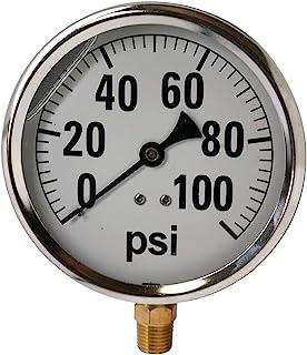 """41 系列 4"""" 100 PSI 压力表 - 不锈钢,0.64cm NPT 黄铜底部安装,甘油填充"""