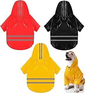 3 件宠物狗雨衣轻质防雨夹克透气雨披连帽雨衣防水外套带*反光条纹(大号)