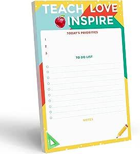 Teacher To Do List 记事本 - 5.5 x 8.5 英寸(约 14 x 21.6 厘米)教师感谢礼品和日常生产力任务规划垫 - 文具组织者用品和课程计划、笔记、任务和约会的礼品创意