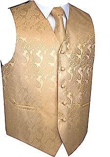 男士 3 件套佩斯利背心领带口袋方形套装,适合西装或燕尾服