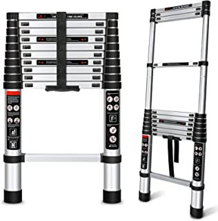 Augtarlion 铝制伸缩梯子,10.5 英尺(约 2.5 米)可折叠梯子,带锁定机制,重型 350 磅(约 149.7 千克)*大容量延长梯子,多用途紧凑梯子,适合家庭或户外工作