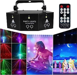 Jeffhome 6镜头激光舞台灯扫描灯,语音控制,全彩KTV酒吧激光舞台灯,线束扫描DMX DJ舞蹈迪斯科酒吧咖啡舞台激光圣诞家居装饰 38 x 26 x 18cm 黑色
