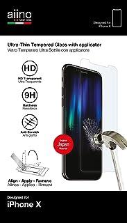 AIINO - iPhone X 钢化玻璃 | 纤薄设计 | 无气泡 | 防刮伤 | 屏幕保护膜 | 快速且易于安装 | 智能手机配件 | iPhone 配件 - 透明