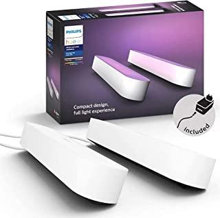 Philips 飞利浦 Hue Play 白色和彩色氛围智能灯条 基础装置,用于电视和游戏的娱乐照明(与Alexa,Google Assistant和Apple HomeKit配合使用), 双件装 ,白色