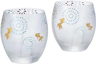 Aderia Premium 日本风 高级金鱼焰火系列 日本制造 酒杯 老式玻璃摇滚杯 蓝色 礼品盒对装 容量:345ml S6268