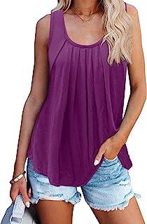 PINKMSTYLE 女式褶皱无袖低圆领工字背心夏季宽松休闲锻炼上衣