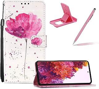 Galaxy S21 Ultra 5G 皮带皮套,适用于 Galaxy S21 Ultra 5G 钱包翻盖保护套,Herzzer 时尚优雅 3D 粉色莲花图案磁性支架 PU 皮保护套,带柔软 TPU