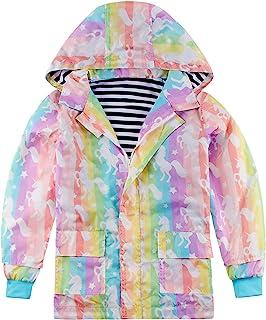 uideazone 男孩女孩雨衣可爱卡通防水连帽雨衣外套适合 2-9 岁儿童