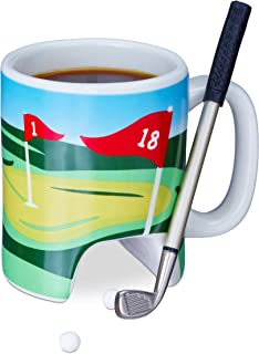 Relaxdays 高尔夫球杯带球杆,推杆带圆珠笔,2 个高尔夫球,趣味高尔夫礼品,高尔夫咖啡杯,彩色